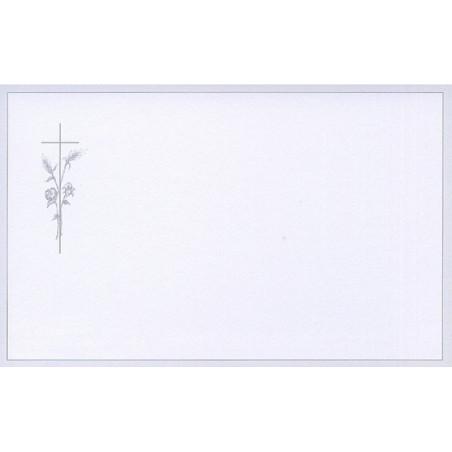 Carte remerciement décès croix catholique, fleurs, épis de blé et bordure grise avec liseré Decorte 6541
