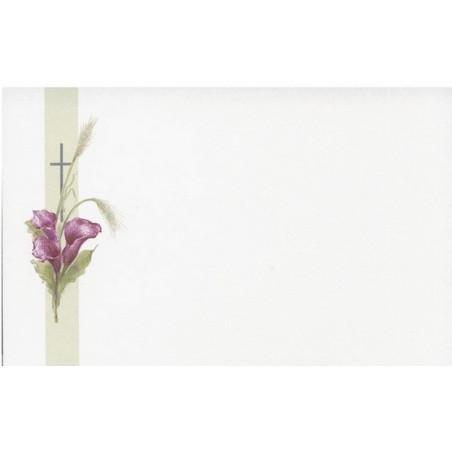 Carte remerciement décès arums violets, épis de blé et croix catholique Decorte 6558