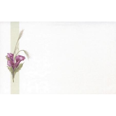 Carte remerciement décès arums violets, épis de blé Decorte 6559
