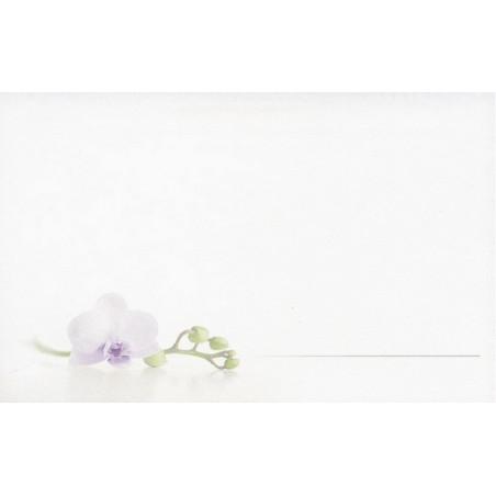 Carte remerciement décès orchidée blanche et cœur violet Decorte 6583