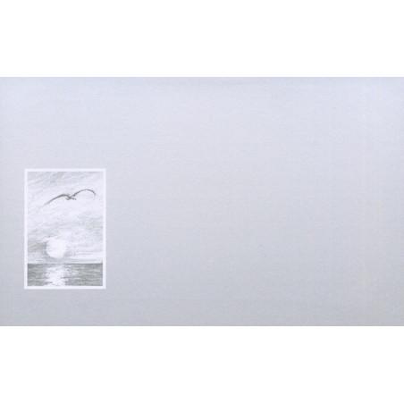 Carte remerciement décès dessin au crayon à papier coucher de soleil au-dessus de l'océan avec mouette en vol Decorte 6588