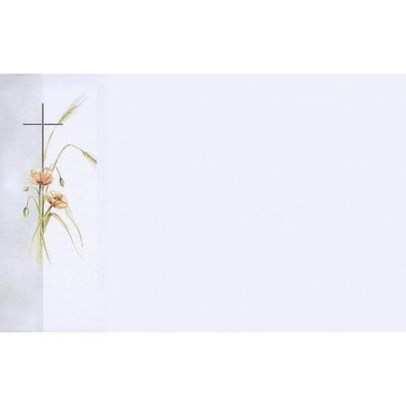 Carte remerciement décès coquelicots, épis de blé et croix catholique Buromac 670.090