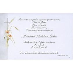 Carte Remerciement Deces Croix Catholique Fleurs Bleuets Epis Ble