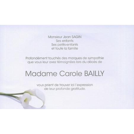 Carte Remerciement Deces Condoleances Nature Fleurs Arums Blancs