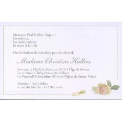 Carte Remerciement Deces Fleurs Rose Couleur Pastel Et Lisere