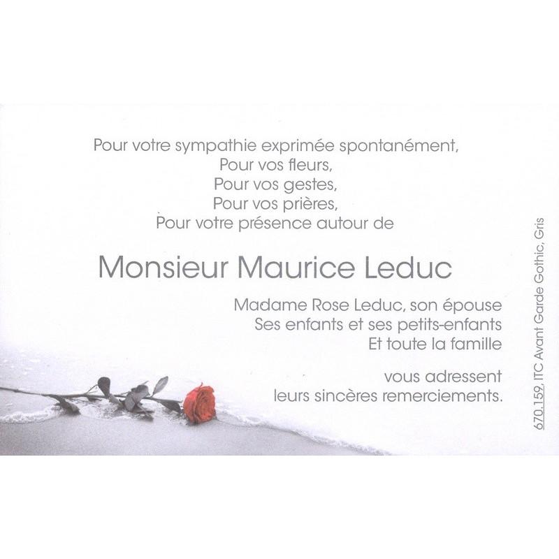 Carte Remerciement Deces Fleur Rose Rouge Sur Plage Mer